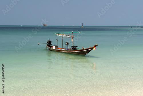 Plexiglas Tropical strand Boat to fish squid, Thailand