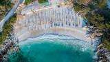 Marble beach (Saliara beach), Thassos Islands, Greece - 208662326