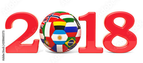 Football 2018 concept with soccer ball with flags. 3D rendering