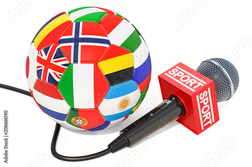 Soccer News concept. Microphone sport news with soccer ball, 3D rendering