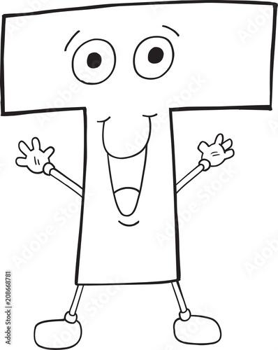 Fotobehang Cartoon draw Cute Happy Letter T Vector Illustration Art