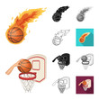 Basketball and attributes cartoon,black,flat,monochrome,outline icons in set collection for design.Basketball player and equipment vector symbol stock web illustration.