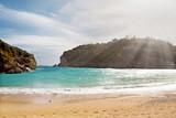 Beautiful sandy beach with sunbeam at Paleokastritsa in Corfu, Greece - 208671960