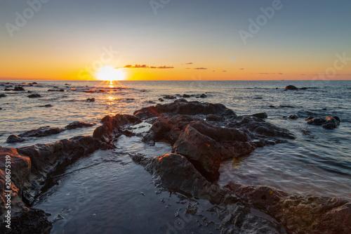 Fotobehang Grijs Sardinia sunrise in Cala Gonone, Italy