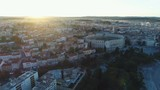 Beautiful drone shot of classic European urban landscape at sunrise, classic well preserved Pula Arena, heritage tourism travel architecture Croatia - 208676100