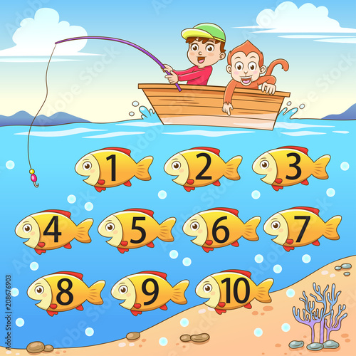learn counting number with fishing. - 208676903