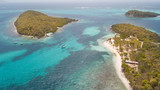 Aerial view of Tobago cays in st-Vincent and the Grenadines - Caribbean islnds - 208682396