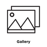 Gallery icon vector sign and symbol isolated on white background, Gallery logo concept - 208686130
