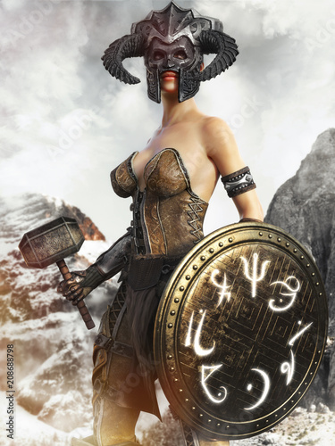 Leinwanddruck Bild Portrait of a fantasy female hunter holding a magical shield and war hammer. 3d rendering