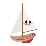 Sailboat transportation cartoon character perspective view isolated on white background vector illustration. - 208690921