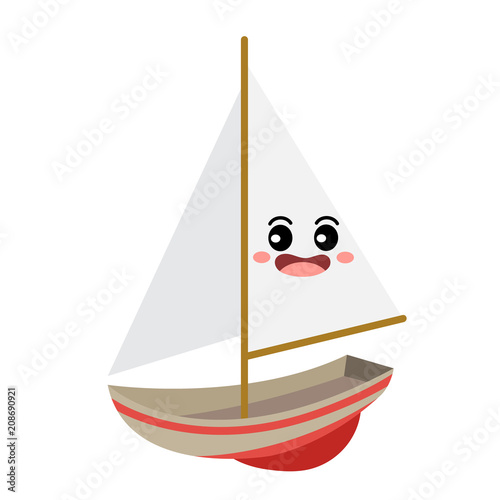 Sailboat transportation cartoon character perspective view isolated on white background vector illustration.