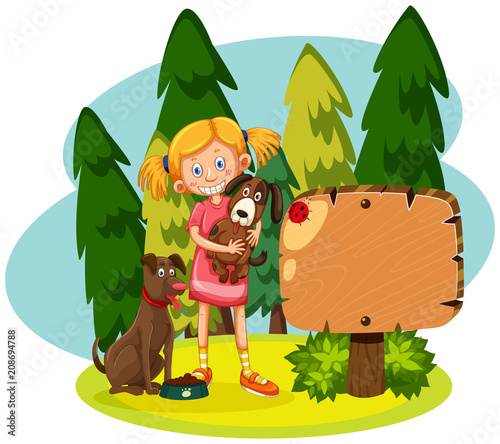 Girl with two dogs forest scene