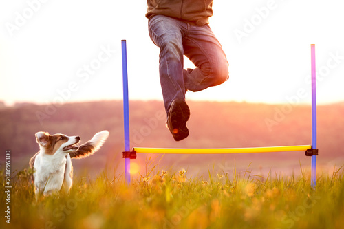 Leinwanddruck Bild Mann springt über eine Hürde, Welpe oder kleiner Hund läuft nebendran
