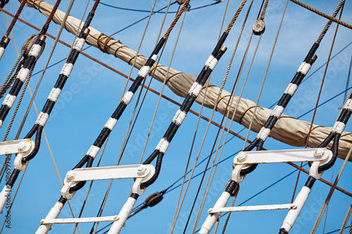 Fotobehang Schip Close up picture of old sailing ship mast details, selective focus.