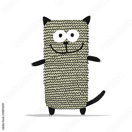 Cute knitting cat, sketch for your design