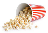 Popcorn in striped bucket isolated on a white background. - 208702508