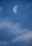 half moon and clouds