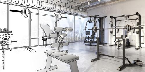 Poster Weights Training Center (panoramic)