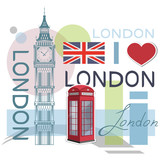 Set for design on London. Great Britain flag. Big Ben Tower. London phone booth. Vector graphics to design.