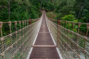 Suspension bridge in Turkey with wood walkway,Adana,Karaisali