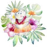 dancing hippo with tropical plants, watercolor illustration isolated on white background. - 208708374