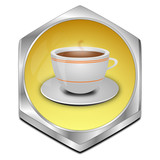 Button with a Cup of Coffee - 3D illustration