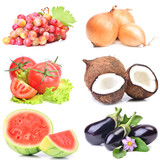 Fruits and vegetables on a white background