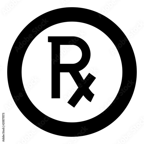 Rx symbol prescription icon black color in circle round