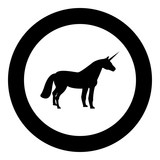 Unicorn icon black color in circle round