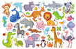 Vector set with animals. Cute animal on a white background in a childrens style.