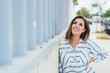 Leinwanddruck Bild - Happy, thoughtful woman smiling to herself