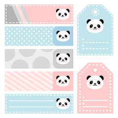 Cute Panda Note Sticker, Note Paper and Stickers Set with Vector Funny Animals Illustration Vector, Template for Greeting Scrapbook, Sticker Set for Organizer
