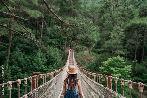 Happy travel woman on vacation concept. Funny traveler enjoy her trip and ready to adventure