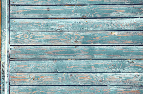 Foto Murales Ancient wood with cracked paint of blue color