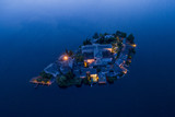 Aerial View at night of San Giulio island, lake Orta, northern Italy. - 208719571