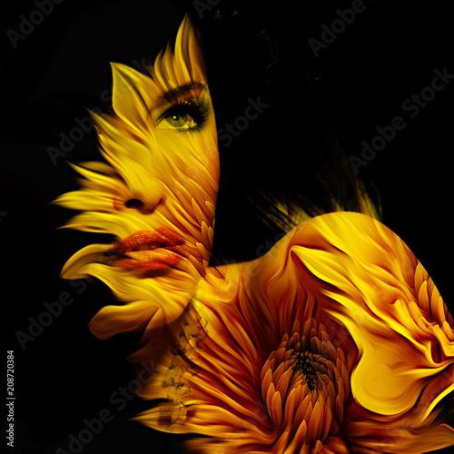 Leinwanddruck Bild young beautiful woman fantasy portrait double exposure