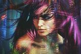 wild woman beauty portrait double exposure - 208720557