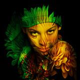 young black woman  portrait double exposure - 208720562