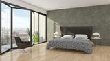 Modern bright bed room interiors 3D rendering illustration - 208721570