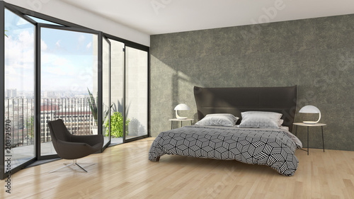 Modern bright bed room interiors 3D rendering illustration - 208721570