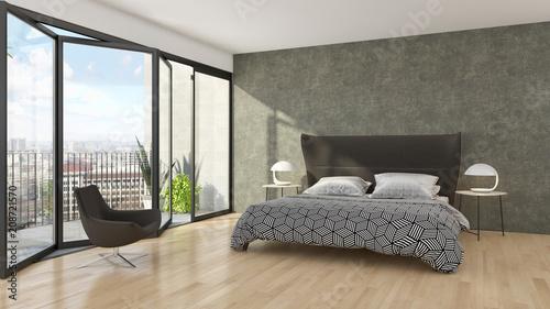 Leinwanddruck Bild Modern bright bed room interiors 3D rendering illustration
