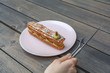 Delicious Paris Brest pistchio creamy franch pastery on table