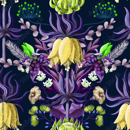 Seamless pattern with tropical flowers in blue color and symmetry composition. - 208726590