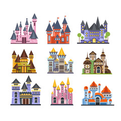 Castles and fortresses set, fairy medieval buildings vector Illustrations on a white background