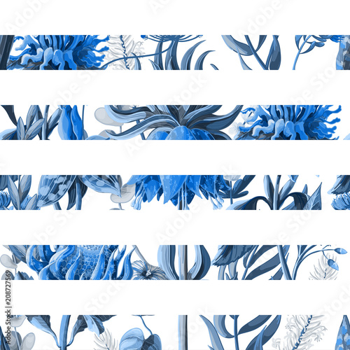 Striped seamless pattern with tropical flowers in blue color. Vector illustration. - 208727569