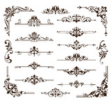 Vintage design elements ornaments frame corners curbs retro stickers and damask vector set illustration white background - 208727783