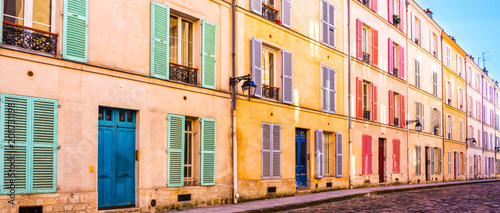 Colorful old building in Paris, France - 208731198