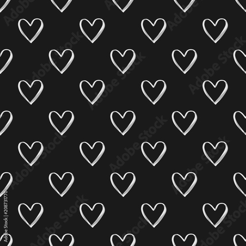 Valentine S Day Seamless Pattern With White Watercolor Heart