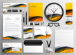 abstract yellow modern brand identity business stationery items