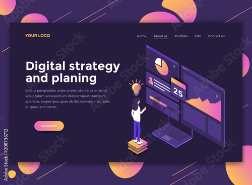 Flat Modern design of website template - Digital Strategy and Planing - 208736712